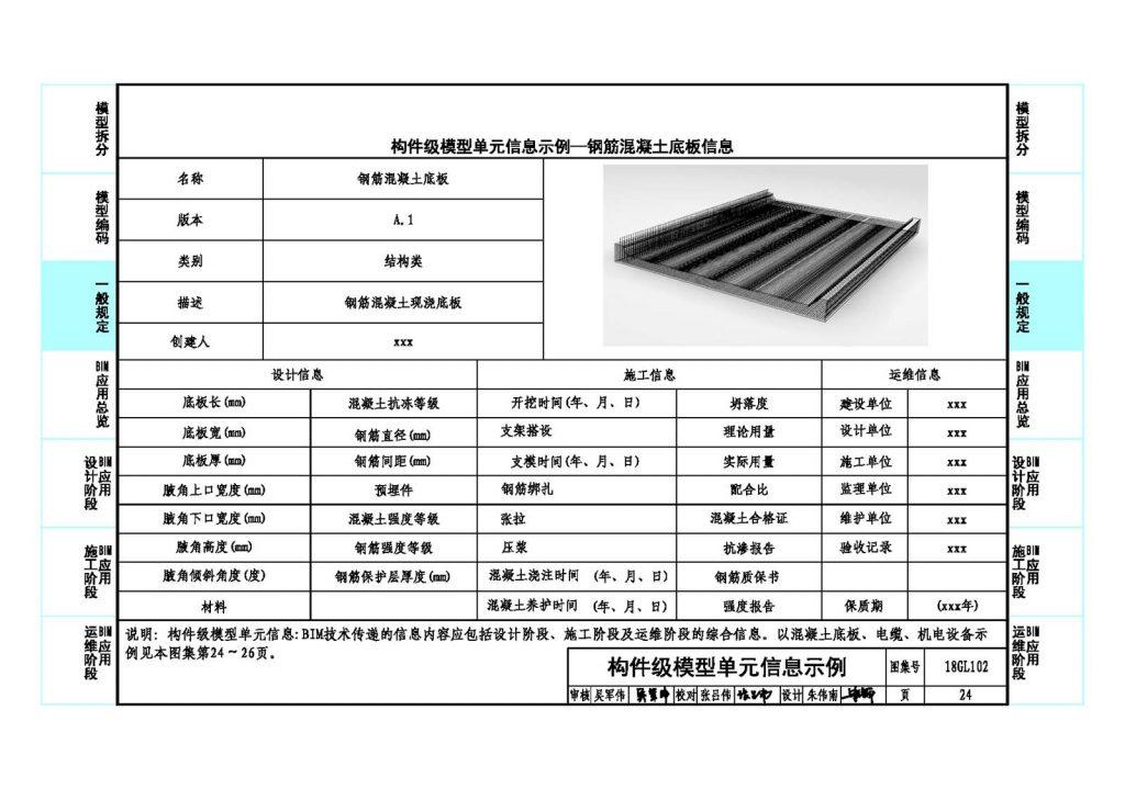 综合管廊构件级模型单元信息示例