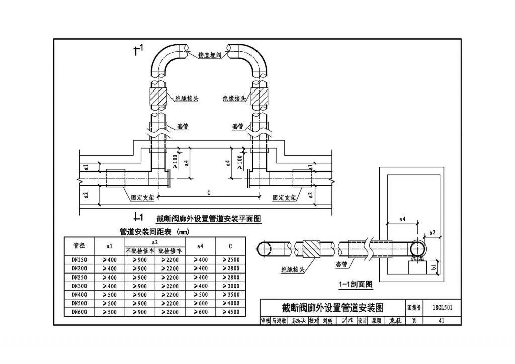 截断阀廊外设置管道安装图
